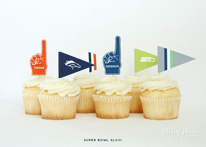 Free Printable | Super Bowl XLVIII Cupcake Toppers | PrettyPeas.com