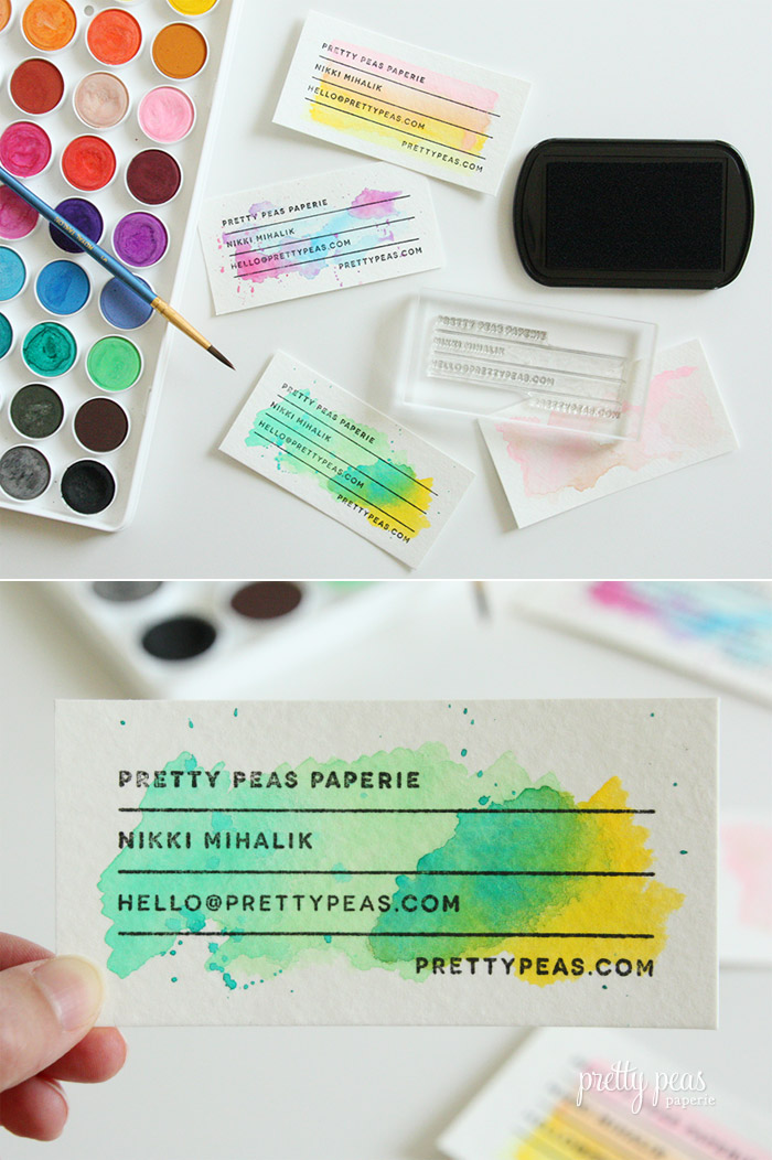 DIY Stamped Watercolor Business Card