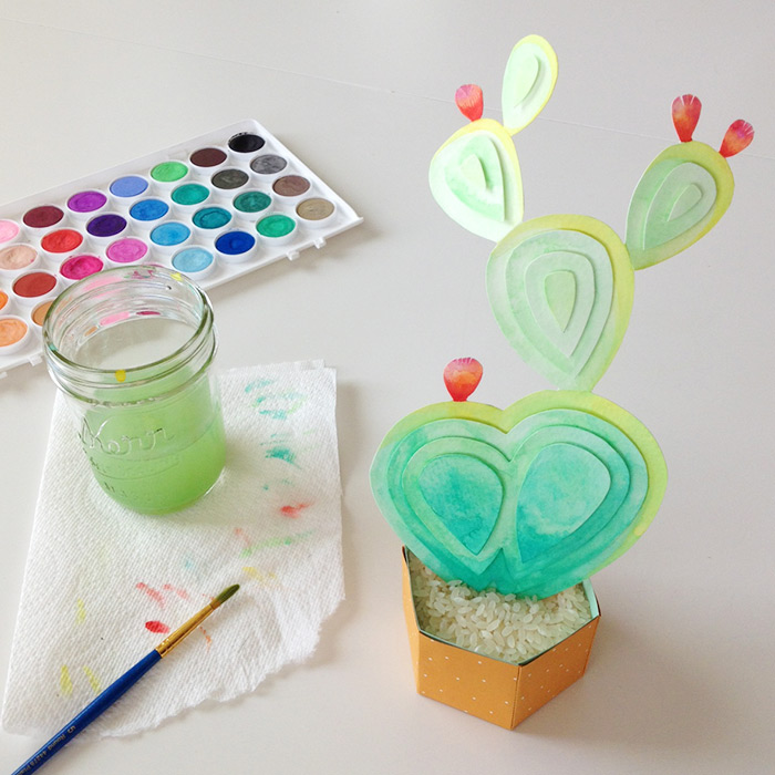 DIY Watercolor Cactus Paper Sculpture | Tutorial
