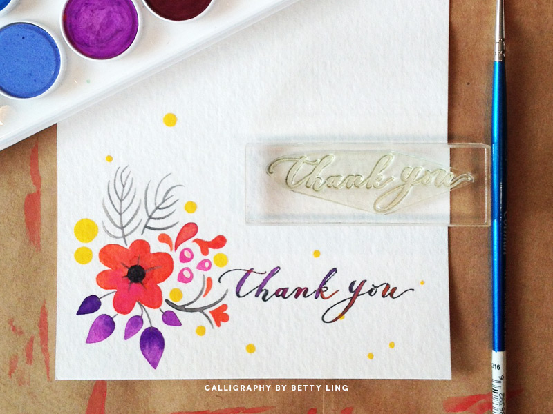 Calligraphy Thank You Stamp on Watercolor Stationery