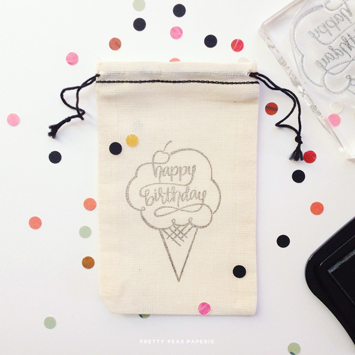 Hand-Lettered Happy Birthday Rubber Stamp // Pretty Peas Paperie // Pop-Up *Stamp* Shop