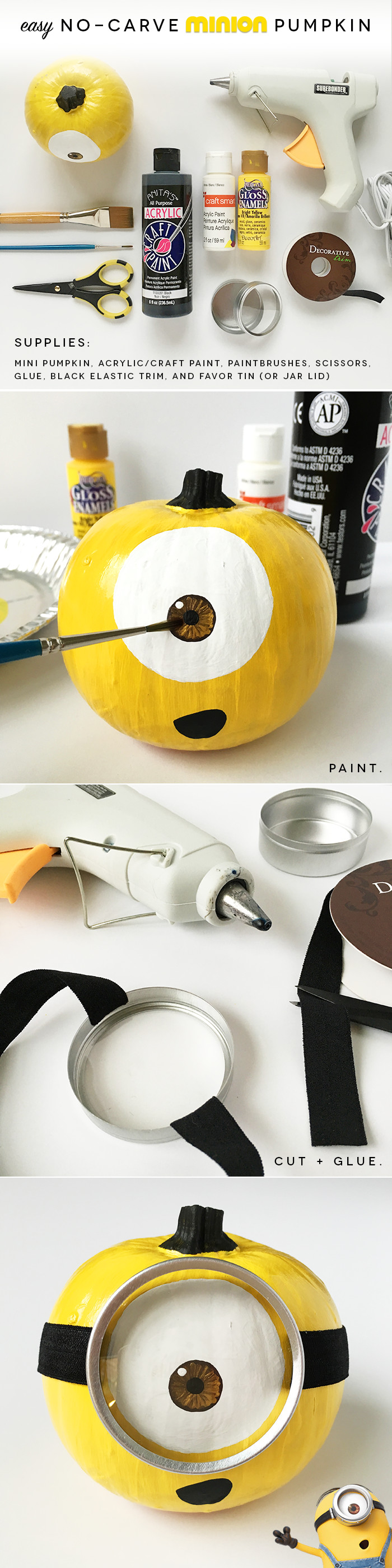 Make an EASY, no-carve Minion pumpkin in just a few steps: paint the head (whole pumpkin), hair (stem), eye, and mouth, then glue elastic trim to the lid of a favor tin or jar. You'll save tons of time by choosing a small pumpkin and only decorating the head. :)