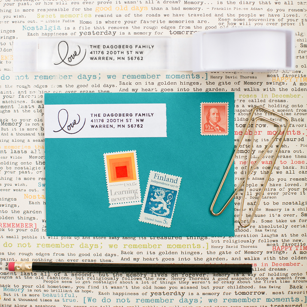Clear custom stamps by Pretty Peas Paperie