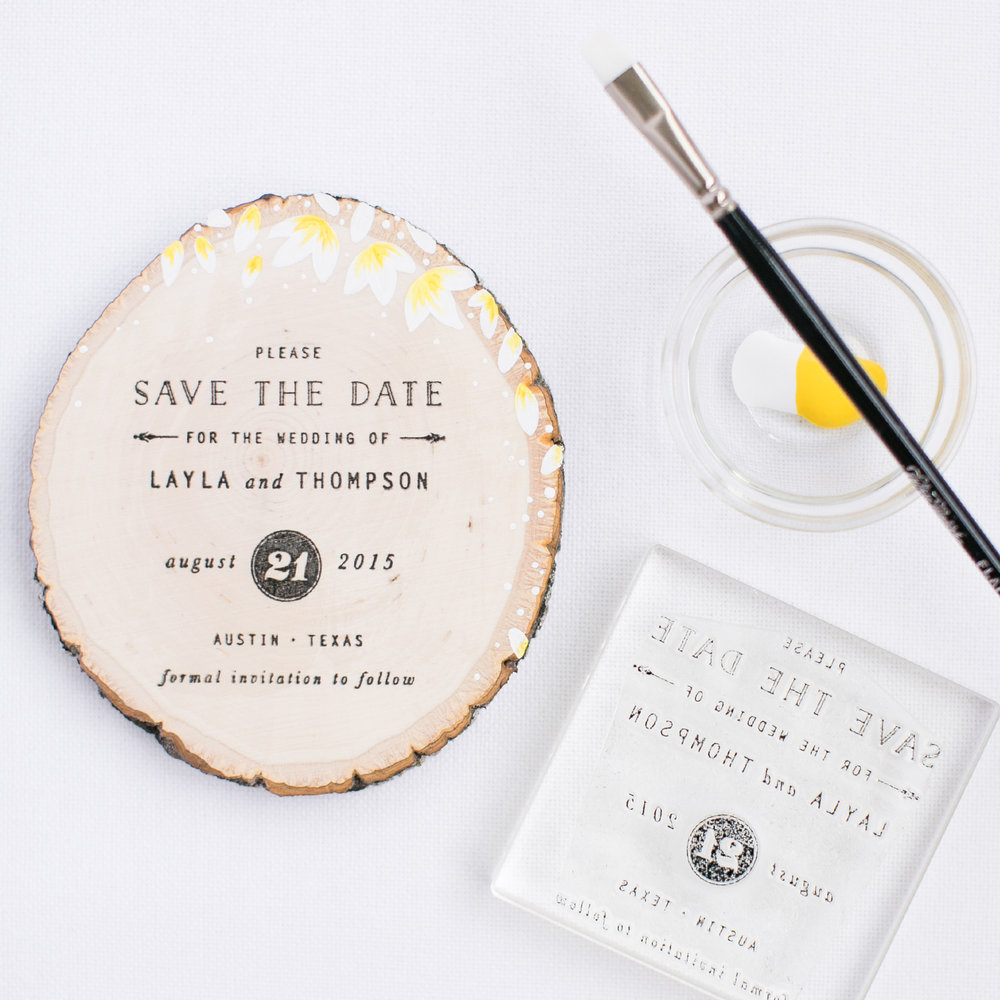 DIY Wood Slice Save the Date using a custom rubber stamp | Pretty Peas Paperie