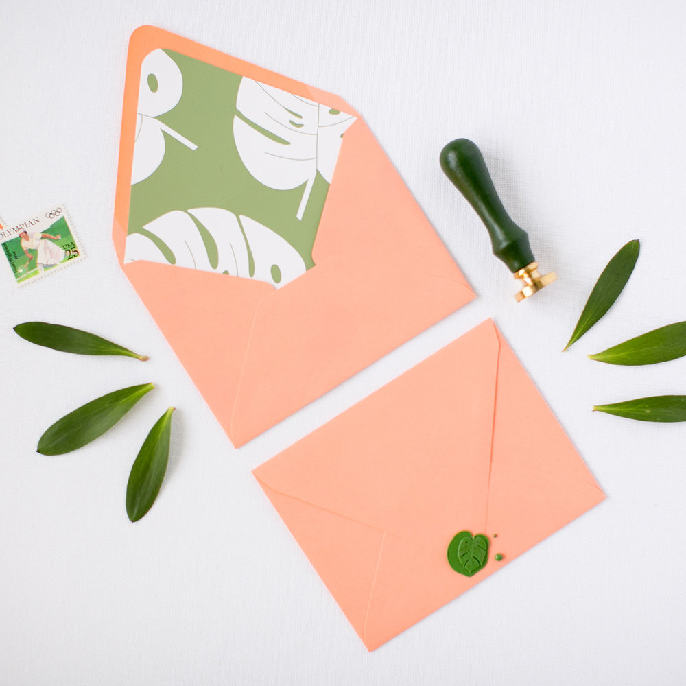 Free Envelope Liner Printable + Wax Seal Giveaway | Pretty Peas Paperie | Philodendron, Tropical Leaf
