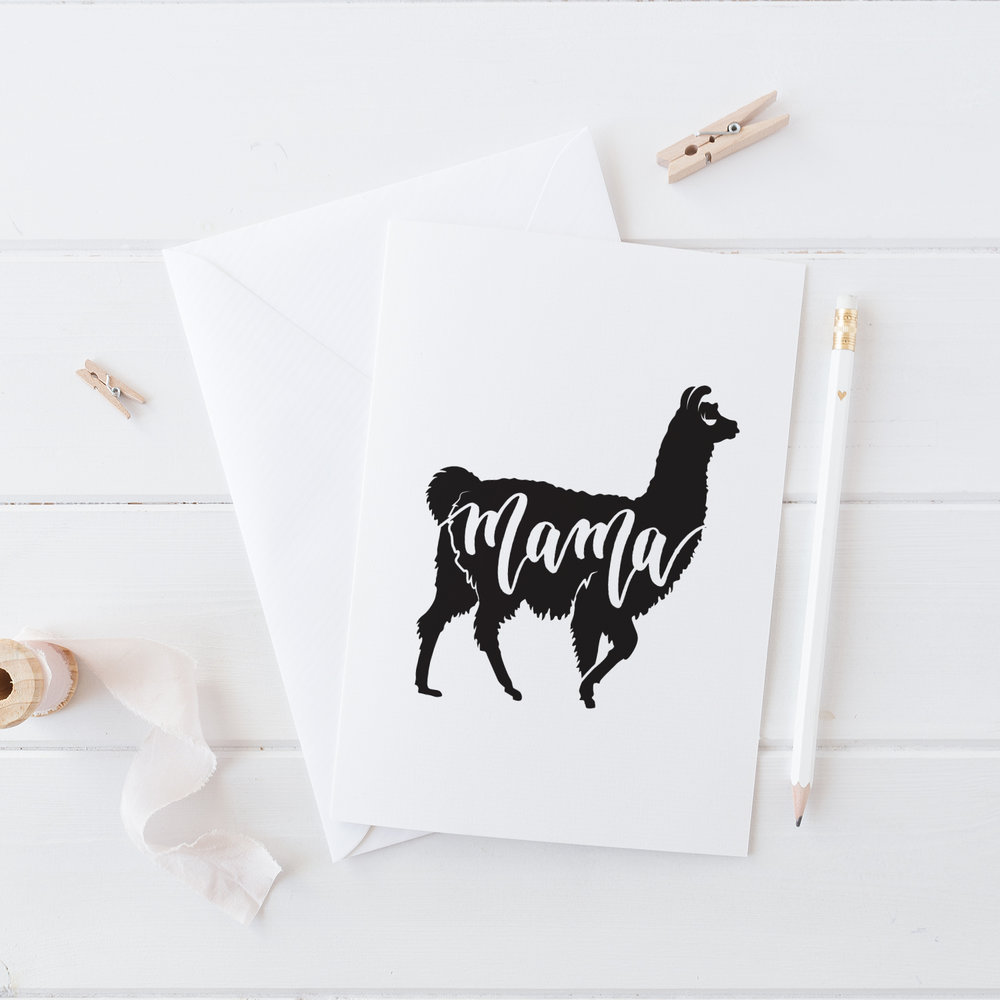 "Free Printable ""Mama Llama"" Card by Pretty Peas Paperie"