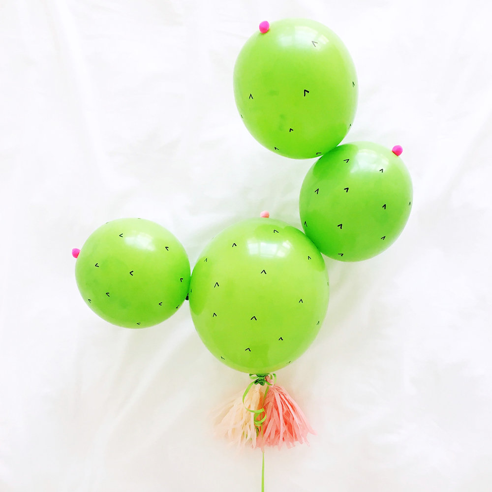 DIY Cactus Balloon with Tassels | Pretty Peas Paperie