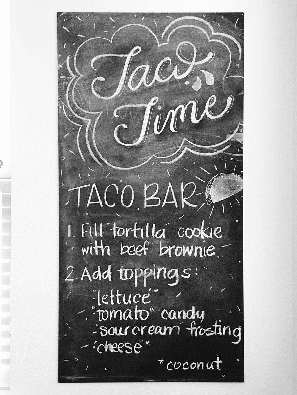 """Taco Time"" Chalkboard Sign 