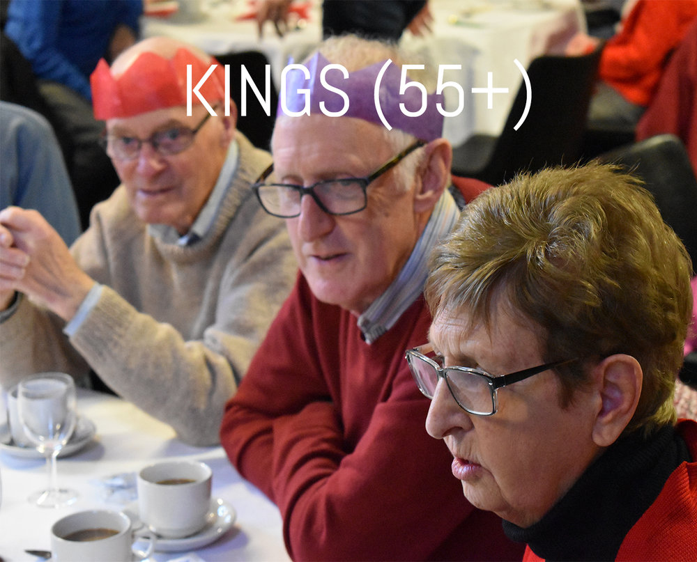 Kings club is our ministry for the over 55s - still spring chickens in our eyes! It is a time to enjoy each other company, eat some great food and socialise!   Day:  Third Wednesday every month   Time:  12:00pm-2:00pm