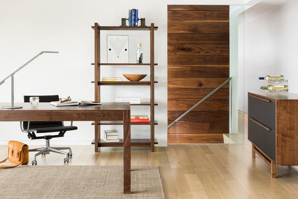 > Element Collection; Desk, Bookshelf, Credenza.