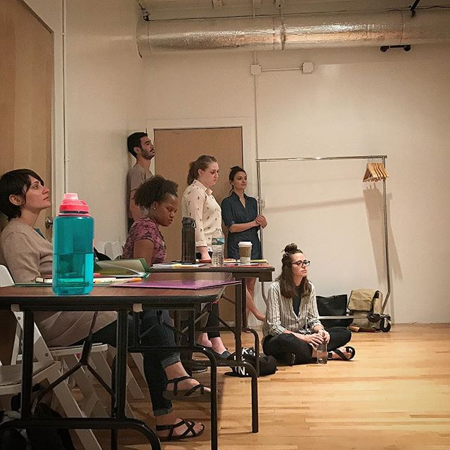 Cast members of 'Iphigenia at Aulis' listening to the opening music. #greekplay #iphigenia #spiritfox Coming in #august #nyc