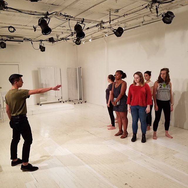 Our marvelous Director Ryan Ortega blocking out the ensemble. T-minus 12 days until opening. #theatre #iphigenia #greaklife