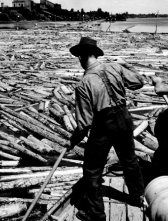 This is what a log driver looks like. Lumberjacks were making sure all the logs find their way on the lake or the river during spring.