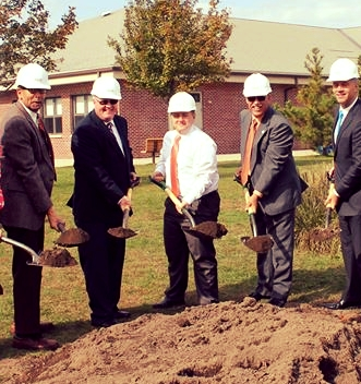 Josh and colleagues breaking ground on the new Taylor School at Sea Lab building.
