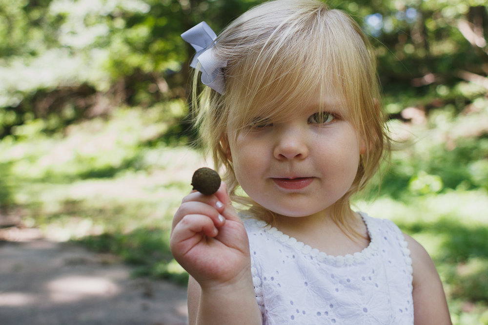 Blonde haired girl with white ribbon in her hair facing the camera showing off an acorn.