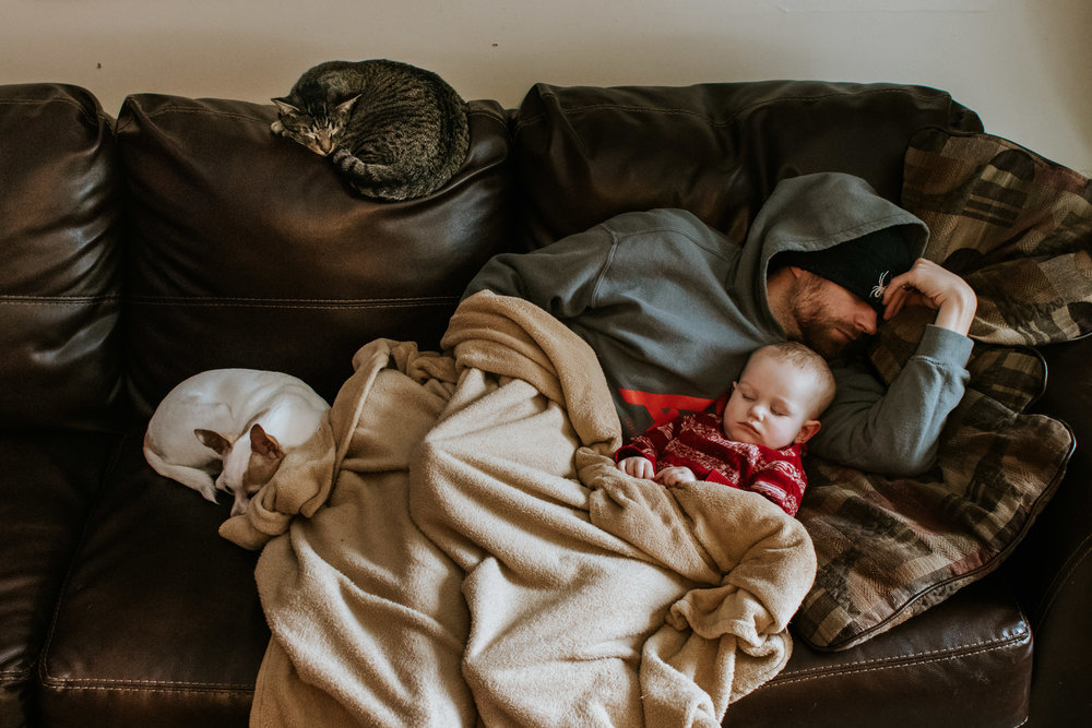 Father, son, dog and cat snuggled up on the couch