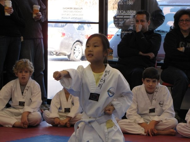 shy girl doing martial arts