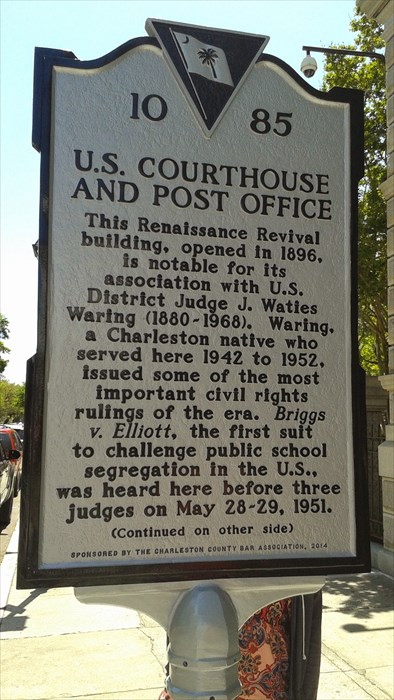 "- Thurgood Marshall and other NAACP Legal Defense Fund lawyers represented Harry and Eliza Briggs and 19 other courageous parents from Clarendon County.  In a bold and vigorous dissent opposing the prevailing doctrine of separate by equal, WAring declared that segregation ""must go and must go now.  Segregation is per se inequality.""  The U.S. Supreme Court followed his analysis as a central part of its groundbreaking decision in Brown v. Board of Education (1954)."