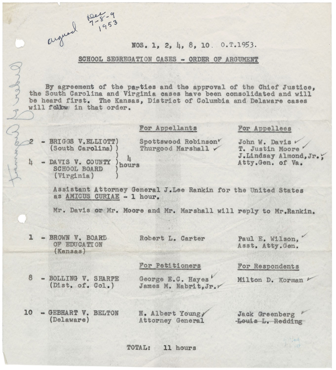 Courtesy: Supreme Court National Archives and Record Administration of School Segregation Cases-Order of Argument.