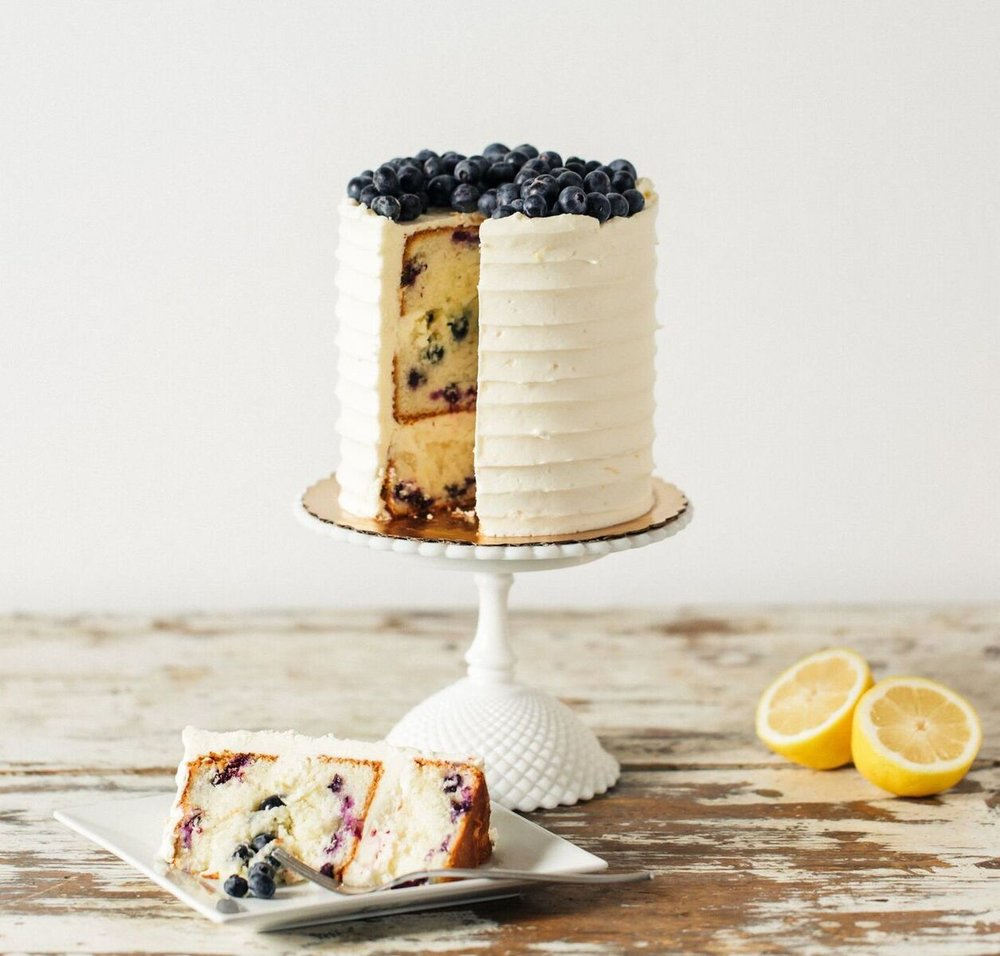 Lemon Blueberry Love - The above with blueberries baked into the crumb, stuffed into the lemon cream layer  and piled on top of the cake.