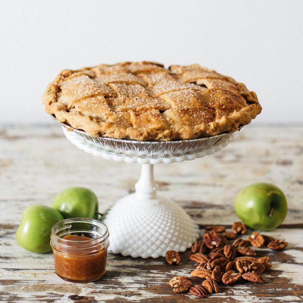 Salted Caramel Strusel Double Crust Apple Pie- $32 -