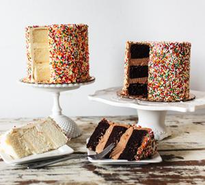 Birthday Cake - Crumb:Chocolate or Vanilla Frosting:Chocolate or Vanilla Decorations:Pink Rainbow Mix, Primary Non pareils