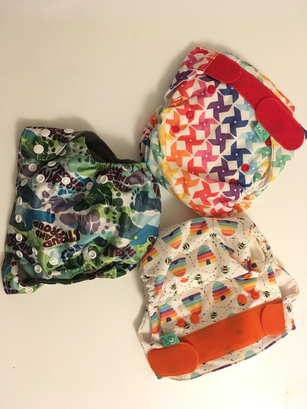 Some lovely colourful re-usable nappies.