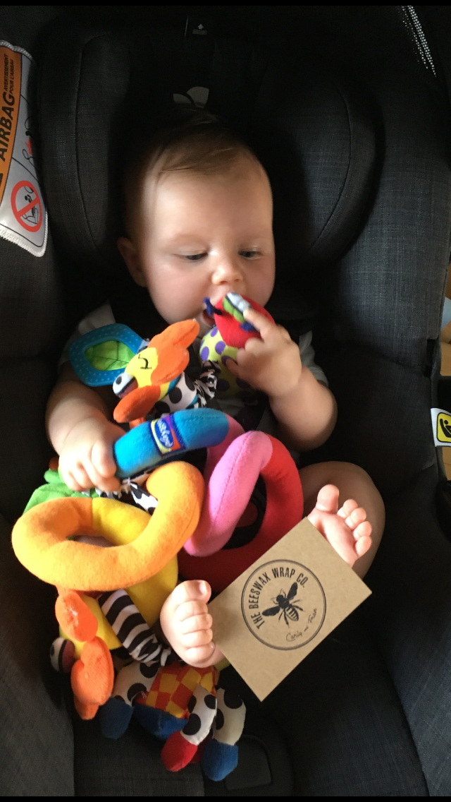 Flo enjoying some of her hand-me-down toys. And repping the brand with her mad foot-skills.