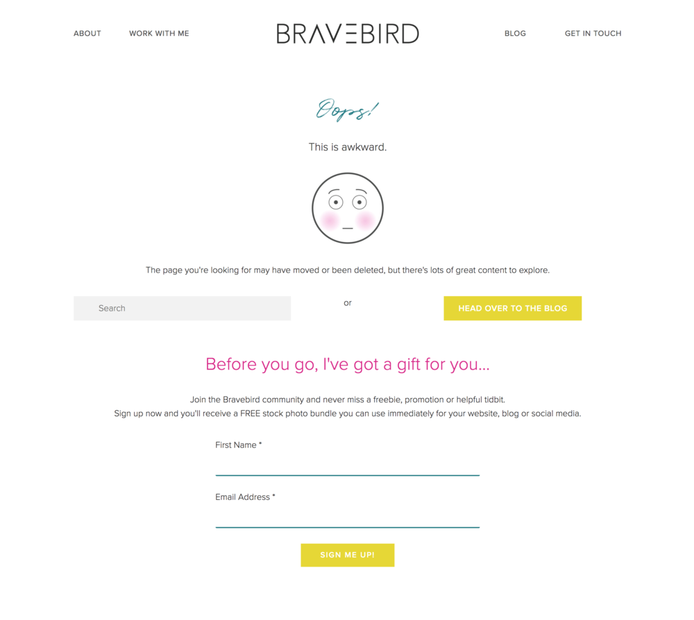How to customize your 404 error page in Squarespace | Bravebird Studio