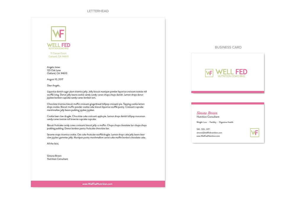 Well Fed Nutrition | branding, business card, stationery | Bravebird Studio