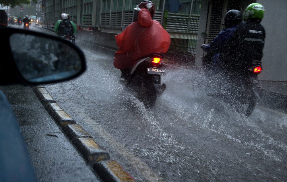 Floodwaters in the streets of Jakarta.