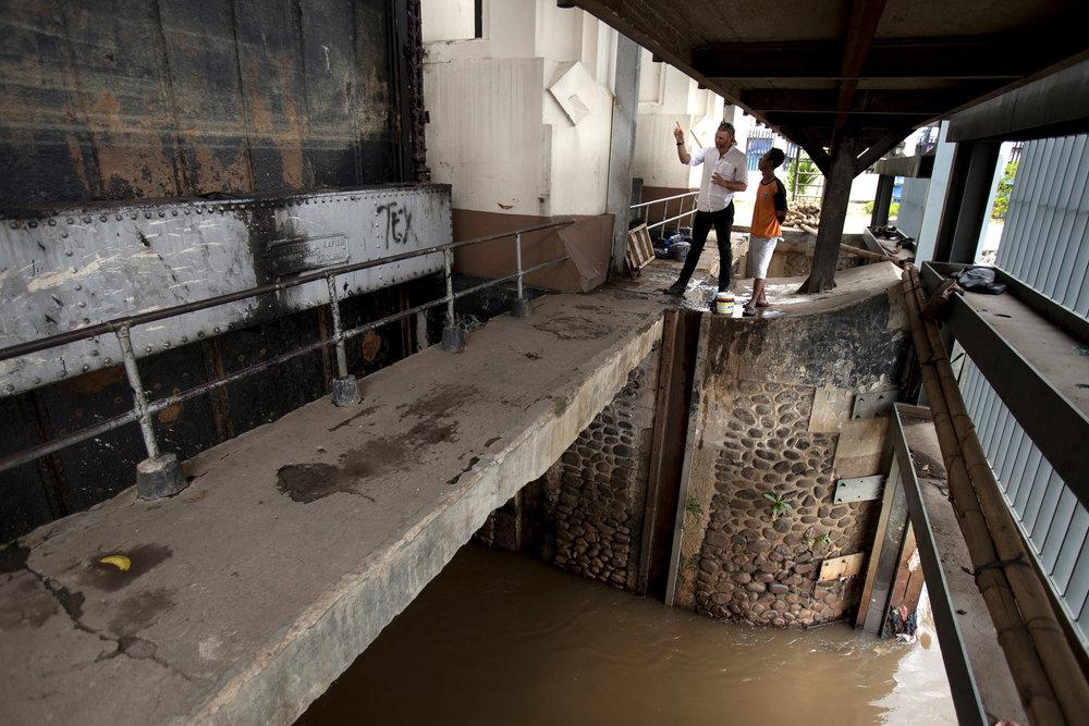 The 100 year Manggarai flood locks in Jakarta.