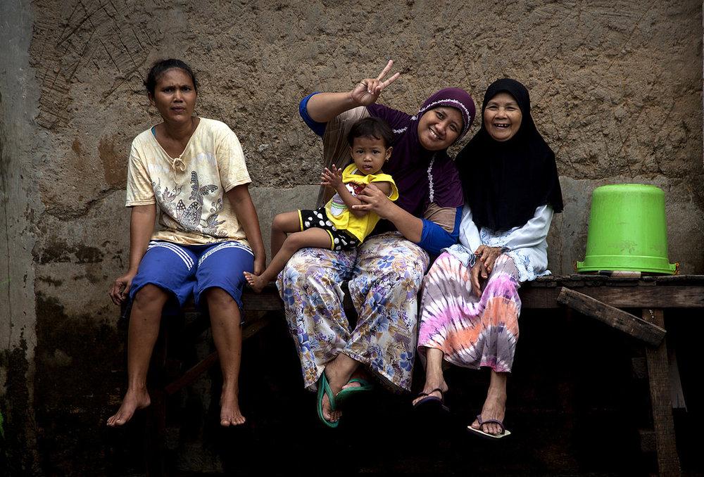 Women in Kampung Melayu in Jakarta.