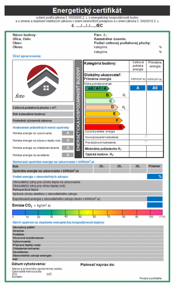 Energetický certifikát, vzor