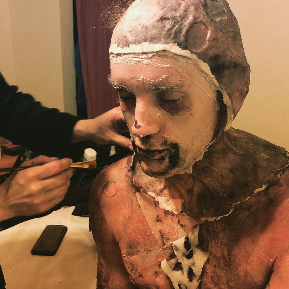 "The make-up comes off after the second monster day on the set of ""Making Monsters"""