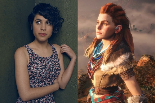 Ashly Burch and Aloy from  Horizon Zero Dawn