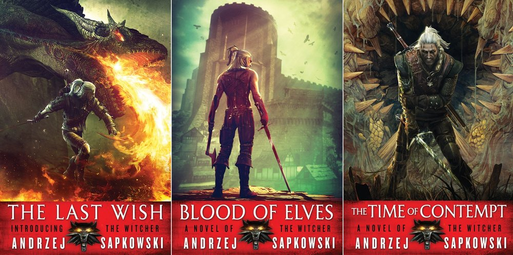 A few of Sapkowski's novels, showing the influence of the game's character design on the books' cover art.