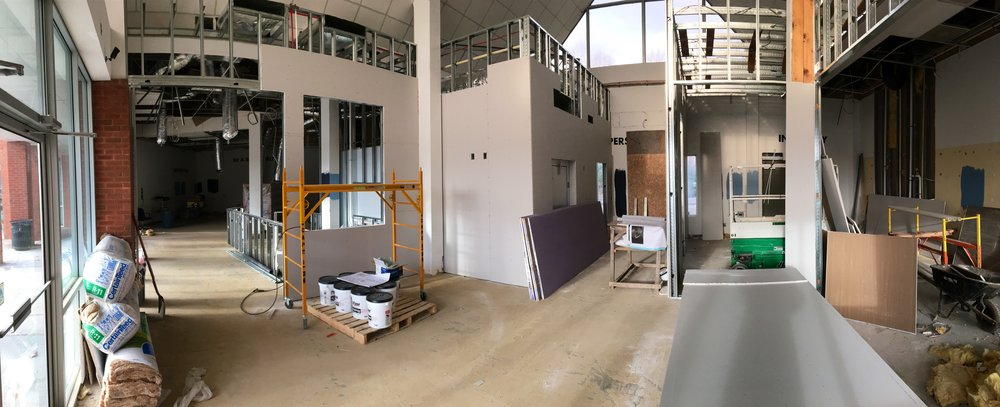 Panorama of the event space. The bar to the left, a new door to the beer garden in the back, and the brewery will be to the right.