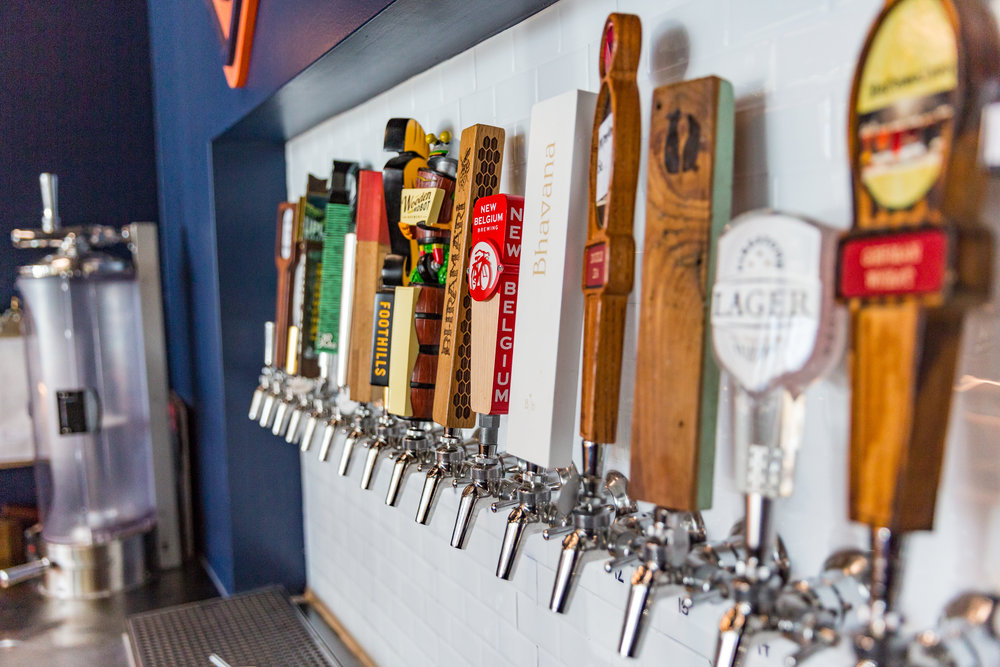 DRAFT BEER - Our state-of-the-art craft beer bar features 24 draft options, including two ciders, nitro beer, three rotating sour beer taps, nitro cold brew coffee, a non-alcoholic option, in addition to four of our own house-brewed beers. Wine and mead are also offered by the glass.