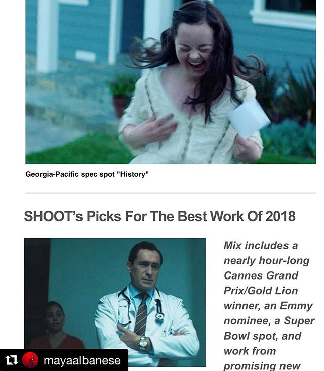 """Huge #client #brag!!! @mayaalbanese, you, your work, and your POV are #amazing and this is a truly well deserved recognition! . Repost ・・・ Beyond words 😭 My spot """"History"""" has been named the second best new work of 2018 by @shootonline, and I received a """"Badge of Honor"""" for being one of two rising female filmmakers with @caitcronenberg 🙌🏻 I chose to cast a young woman with Down syndrome and a gay couple. It makes me cry now to see the recognition this spot has gotten. We are all beautiful. We all matter.  I love what I do, and I love you, all my collaborators and mentors who believe in my crazy ideas. #Blessed #Gratitude #FemaleFilmmakerFriday #Diversity #Advertising #Director #Filmmaker #FreeTheBid #ShootOnline #DGA #Aicp #FemaleFilmmaker #WomeninFilm"""