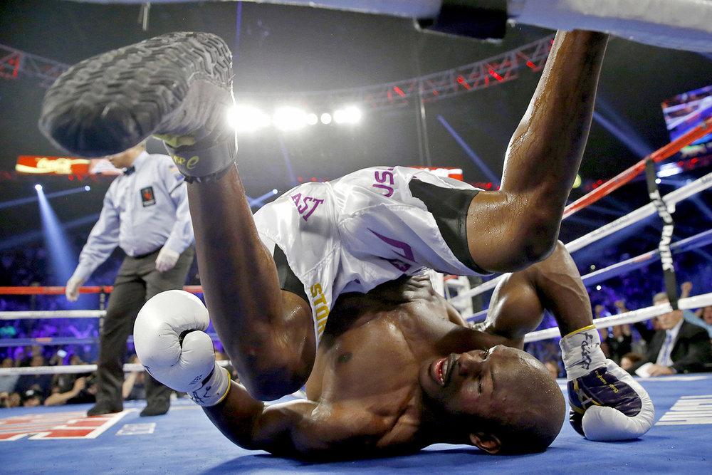 Knockdown: Timothy Bradley hits the Canvas