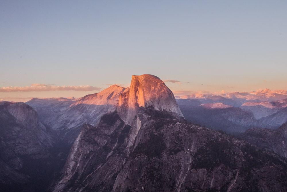 Half Dome during sunset from Glacier Point - Yosemite