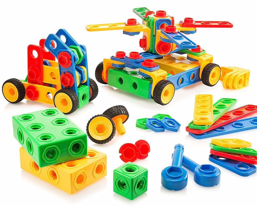 8) Construction Toys - Manipulating, twisting and turning nuts and bolts to create designs builds in-hand manipulation skills and develops bilateral coordination (one hand stabilizes while the other turns). Bilateral coordination is used during many everyday tasks, such as buttoning, cutting, opening containers, and writing.