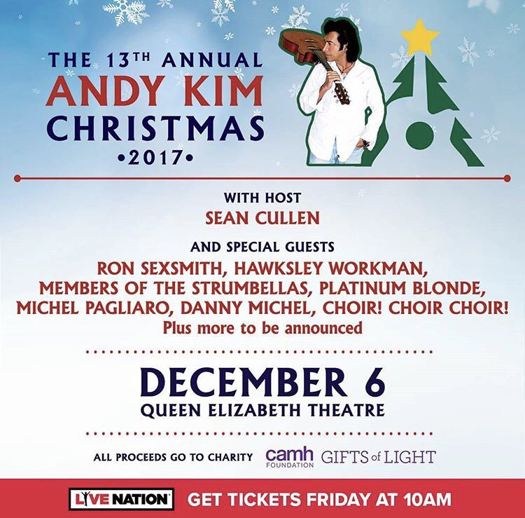 - The Andy Kim Christmas concert help man charities including The Starlight Children's Foundation. Andy's Christmas concerts have raised over $750,000 to date.