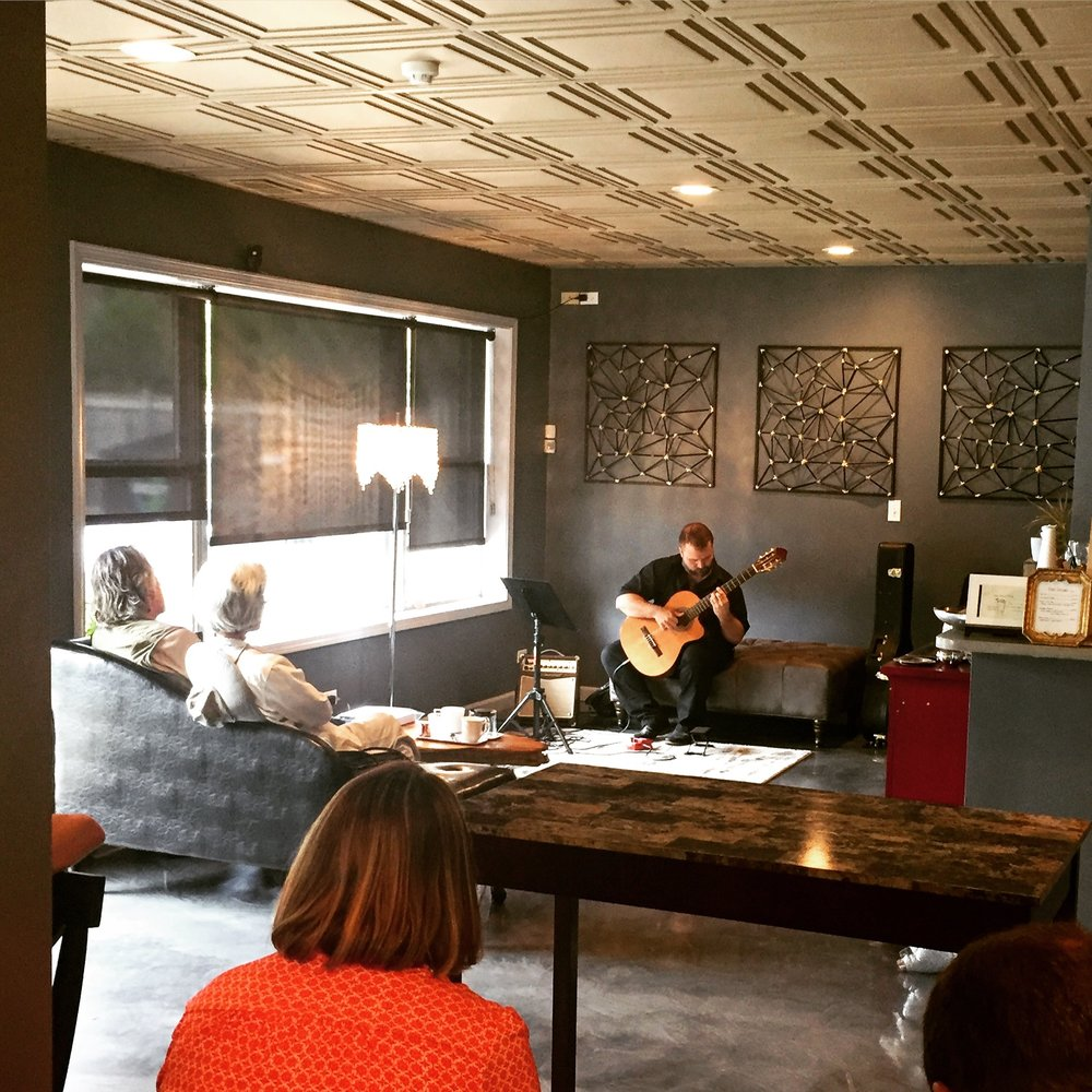 Saturday, September 8th1pm - 3pm - We were treated to a delightful afternoon of classical guitar, masterfully performed by Mike Herndon.Many (many) thanks to Mike for a truly lovely performance!Learn more about Mike Herndon at: Mike-Herndon-guitar-lessons.com