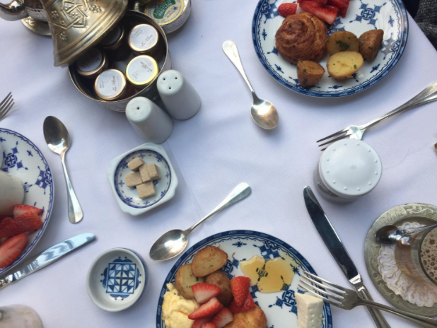 "Breakfast at La Sultana Marrakech. ""French culture is fused with Moroccan cuisine by way of freshly baked pastries. We took full advantage of this."""