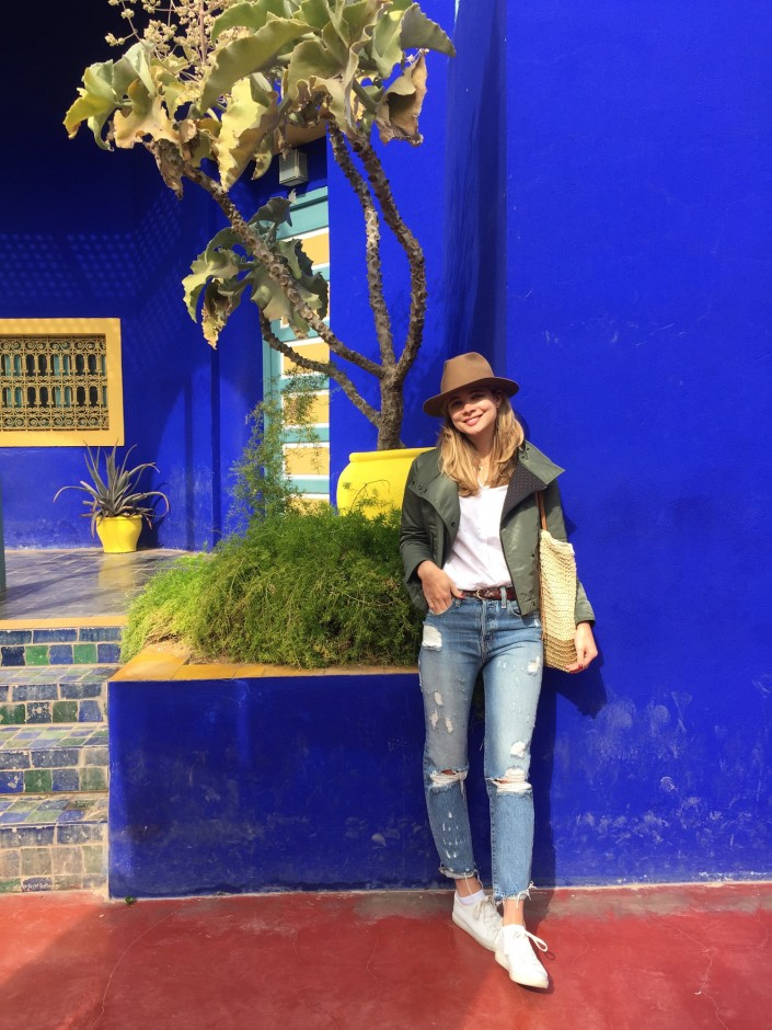 """Hi, YSL! We visited Yves Saint Laurent's Jardin Majorelle and roamed through the grounds for hours. Exploring the fish ponds, overgrown cacti, and trees kept us distracted before discovering the Berber museum."""