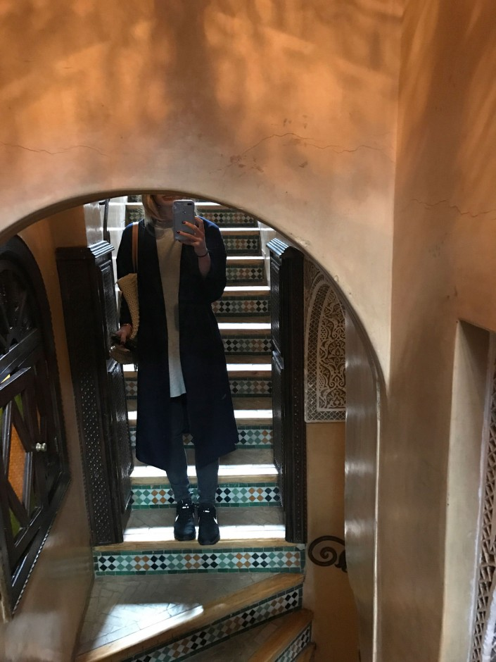 """Leaving our hotel for the next destination.. Thank you, AYR, for this coat! I wore it every day and night. The attention to detail in stairwells and doorways was something that struck me more than almost anything else. The tiles here are all hand-placed one by one."""