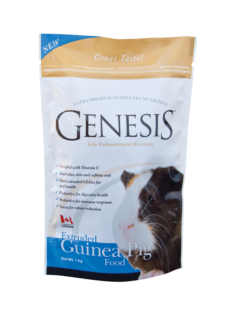 Genesis Extruded Guinea Pig Food - is a complete food fortified based on fresh vegetative ingredients, fortified with essential amino acids, fatty acids, vitamin C and other essential vitamins and minerals all in a convenient effective extruded croquette.