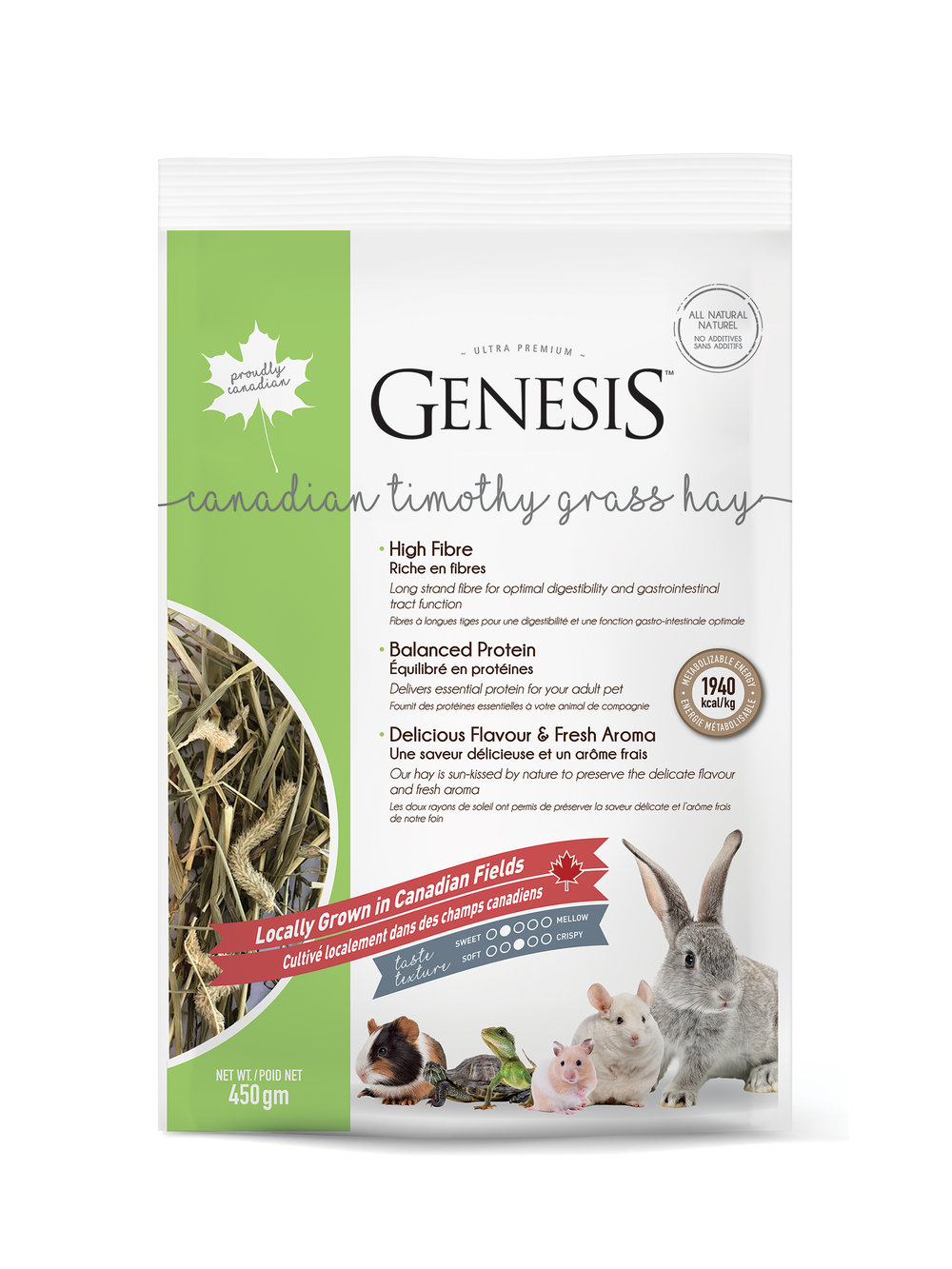 Genesis 100% Canadian Timothy Grass Hay - is a delicious mix of sun-kissed hay offering exceptional flavour and fragrance that will keep your pet coming back for more.